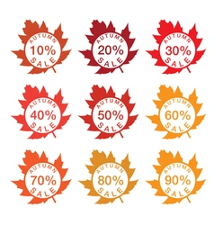 label sale with autumn leaves vector image vector image
