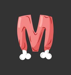 Letter m meat font pork and bone alphabet sign vector