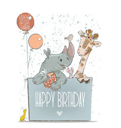 Little lovely rhino with giraffe mouse and birds vector