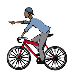 Man pointing riding bicycle transport vector