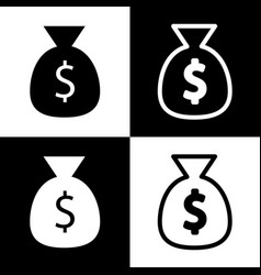 Money bag sign black and vector