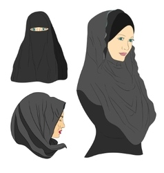 Muslim girl dressed in colored hijab vector