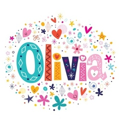 Olivia female name decorative lettering type vector