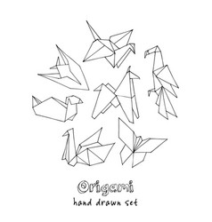 origami hand drawn doodle set vector image vector image