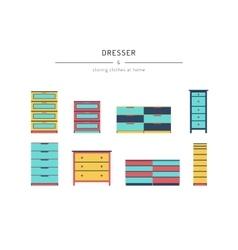 Set dresser cabinets vector