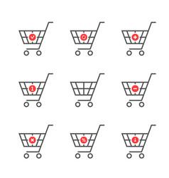 set of black thin line shopping cart logo vector image