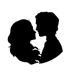 Silhouettes of loving couple vector