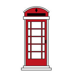 Sketch color silhouette london red phone booth vector