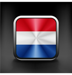 The Netherlands flag in the form of a glossy icon vector image vector image
