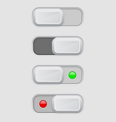 Toggle switch set on and off buttons vector