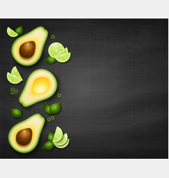 Top view background with realistic avocado vector