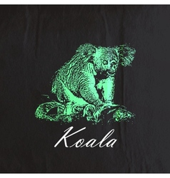 Vintage of a green koala bear on the old bla vector