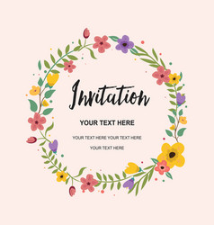 wedding invitation greeting card circle vector image