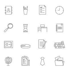 Business and office icon set outline vector image