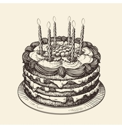 Happy birthday cake with burning candles sketch vector