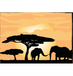 African safari elephants silhouettes vector
