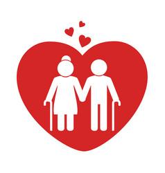 Love couple silhouette icon vector