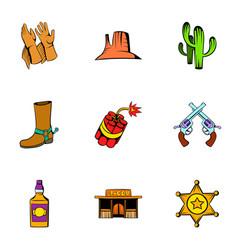 cowboy icons set cartoon style vector image