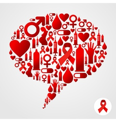 Aids icons in communication bubble silhouette vector