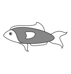 sketch color silhouette fish aquatic animal vector image