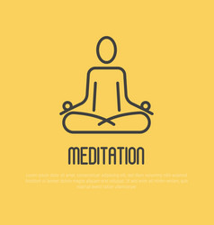 Simple sign of human in lotus pose for logo vector
