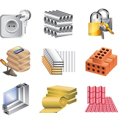 Icons buildingmaket materials vector
