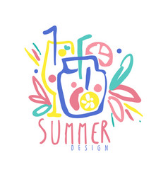 summer logo template colorful hand drawn vector image