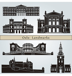 Oslo landmarks and monuments vector