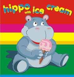 Hippo wich ise cream grey vector