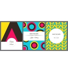 Set of colorful invitation cards vector