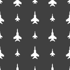 Fighter icon sign seamless pattern on a gray vector