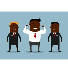 Cartoon happy businessman with bodyguards vector