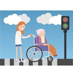 Kind girl helps old lady on wheelchair vector