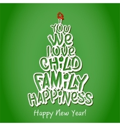 Happy new year family greeting card green vector