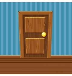 Cartoon wooden door home interior vector