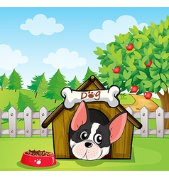 A dog inside a dog house at a backyard with an vector image