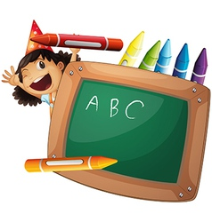 A little girl at the back of a chalkboard vector image