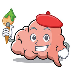 artist brain character cartoon mascot vector image