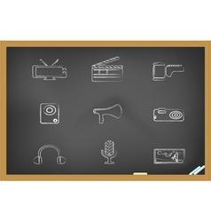 blackboard media tools icons vector image vector image