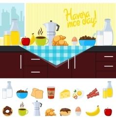 Breakfast Flat Composition vector image