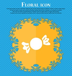 candy icon sign Floral flat design on a blue vector image
