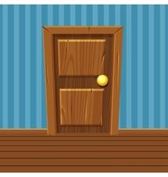 Cartoon wooden door home interior vector