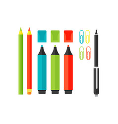 Colored marker school supply highlighters vector