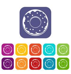 Donut icons set flat vector