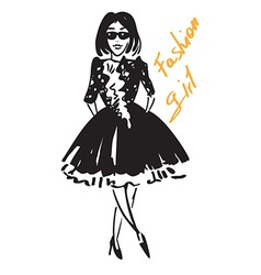 fashionable girl in black vector image vector image