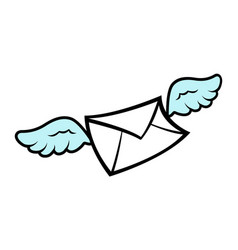 flying wings envelope icon vector image