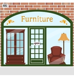 Furniture shop detailed design facade vector image