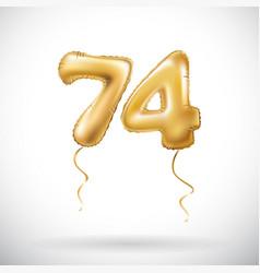 golden number 74 seventy four metallic balloon vector image