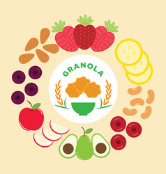 Granola logo with rice fruit and nuts vector