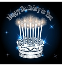 Greeting card with birthday cake vector